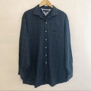 Tommy Hilfiger Plaid Button Down 17 1/2, 34-35